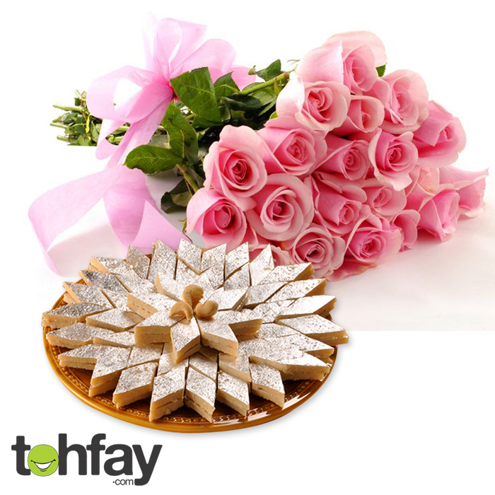 Imported roses with Kaju barfi online