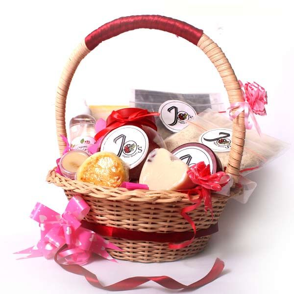 Organic Handmade beauty products valentine's gift basket