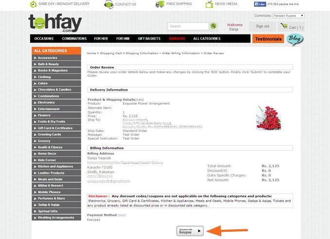 Tohfay com   Payment Methods