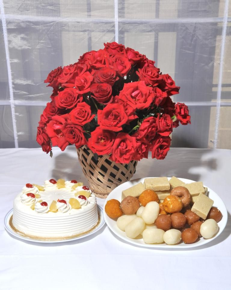 Roses, Cake and Mithai