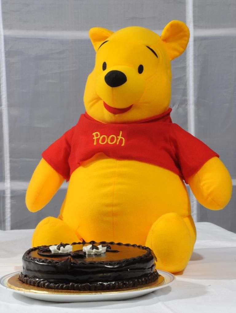 Pooh with Chococlate Cake