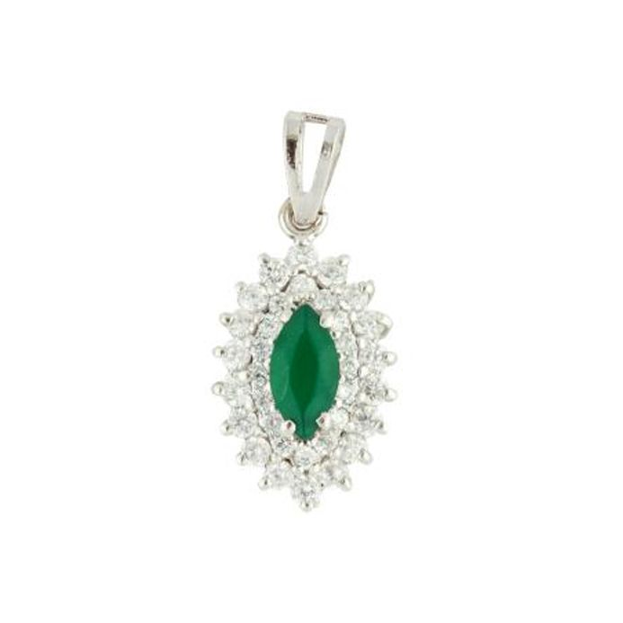 Green Marquise shaped  Sterling Silver Pendan