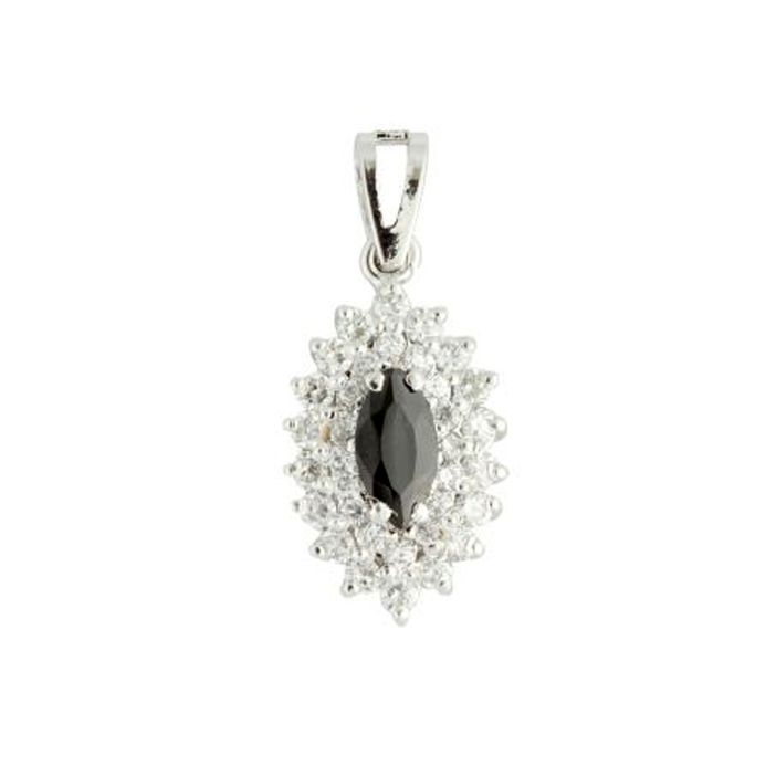 Black Marquise shaped  Sterling Silver Pendan
