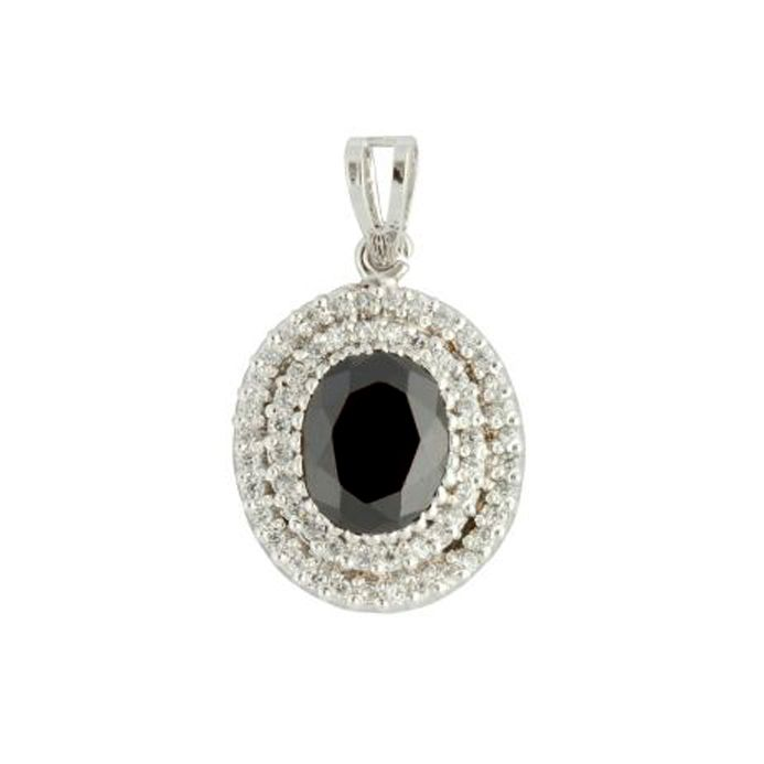 Black Oval Sterling Silver Pendant