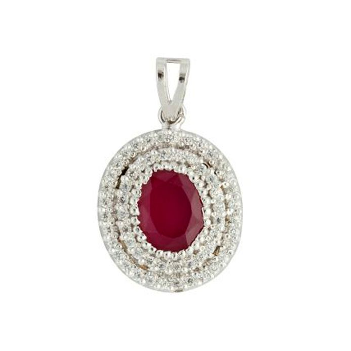 Red Oval shaped  Sterling Silver Pendant