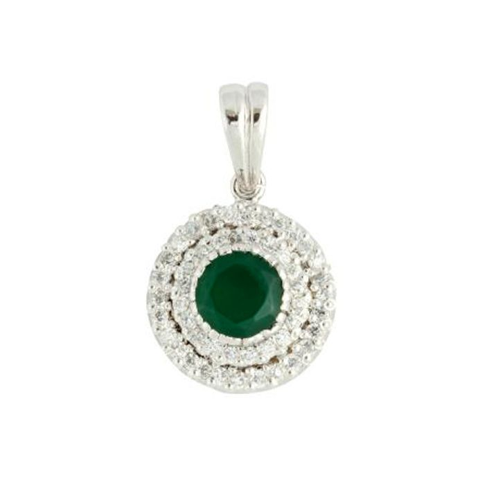 Green round shaped  Sterling Silver Pendant