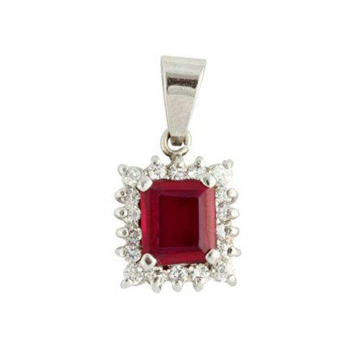 Red Rectangular shaped  Sterling Silver Penda