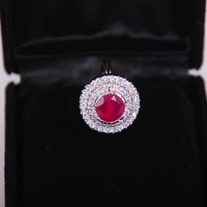 Red Sterling Silver ring