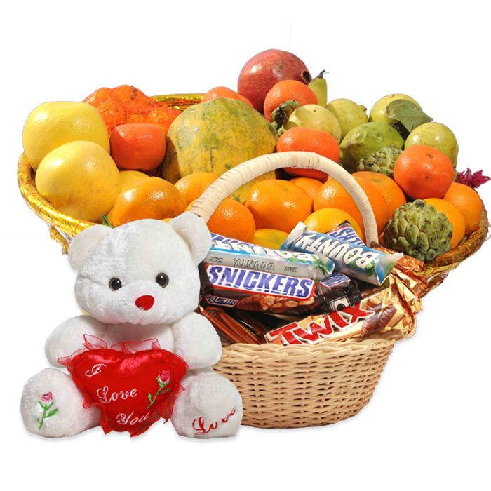 Fruits, Chocolates And Teddy Bear