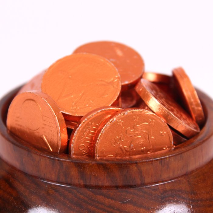 Gold coins in a wooden pot