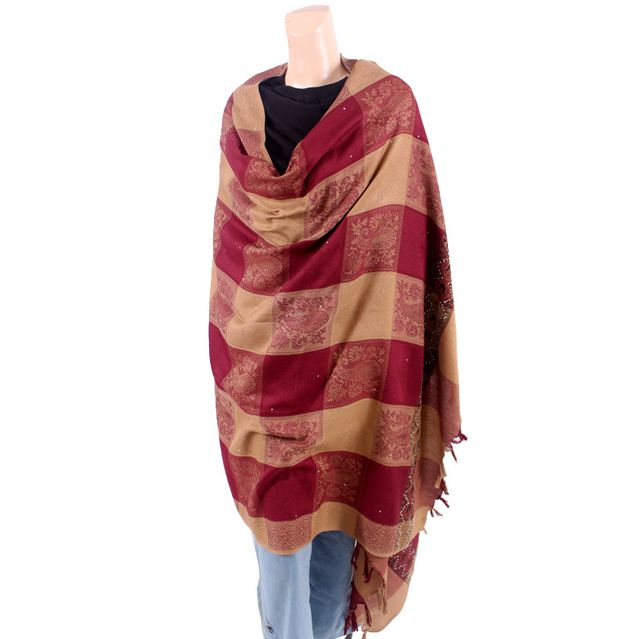 Maroon and Brown Checkered Shawl