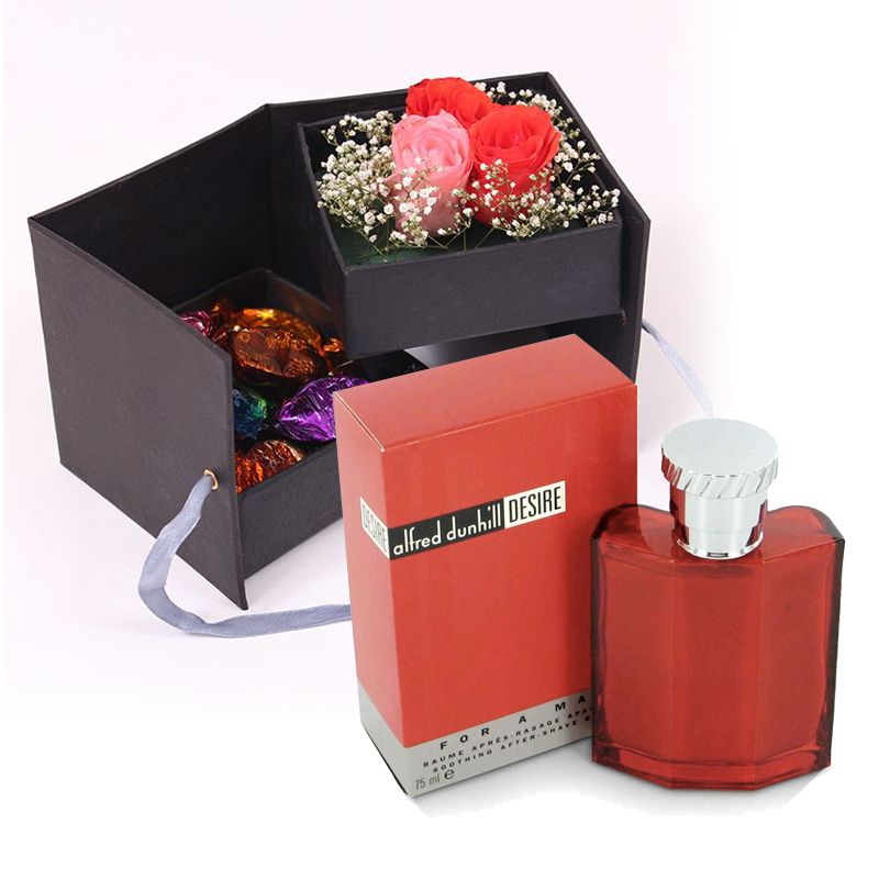 Roses In a box with Desire Perfume for Men