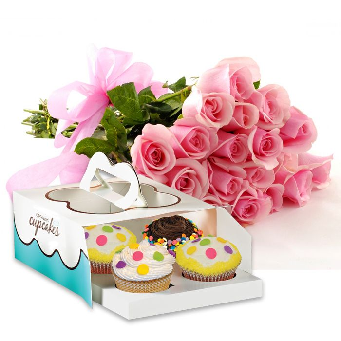 Cupcakes with Imported Roses