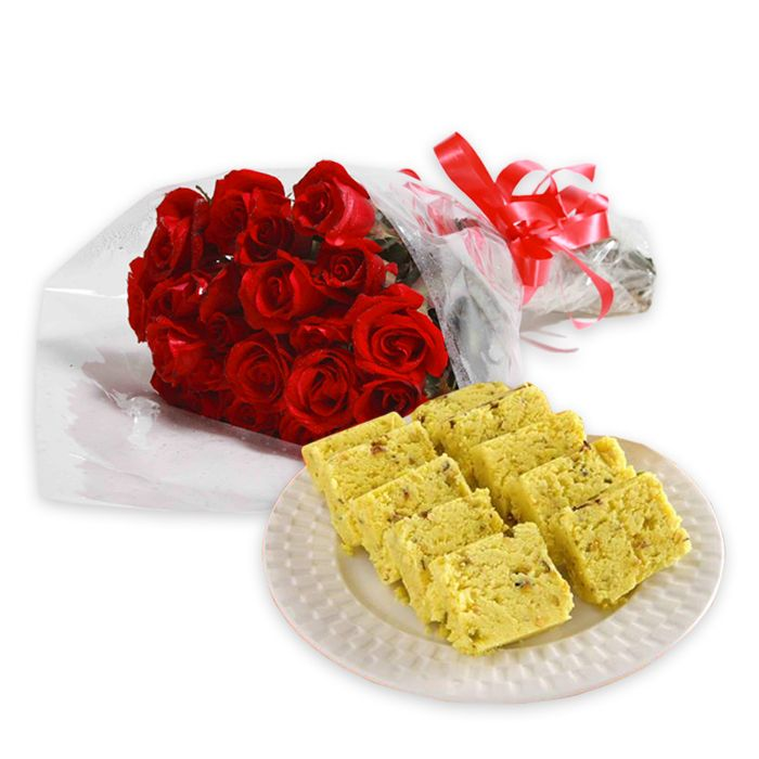 Red Roses Bunch with Pineapple Barfi