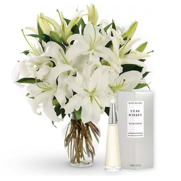 Bunch of Lilies with Issey Miyake Perfume