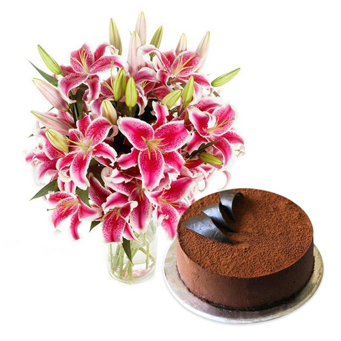 Lals Chocolate Mousse Cake with Lilies