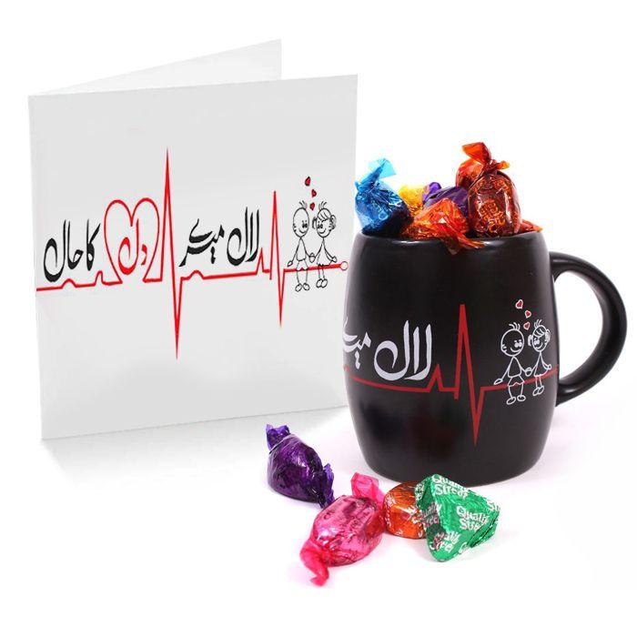 Lal Mere Dil Ka Haal Mug, Chocolates & Card