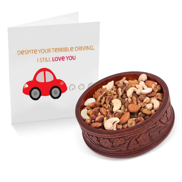 Dry Fruits Wooden Pot with Card