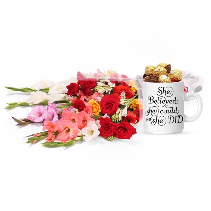 Inspirational Mug for Her with Bouquet