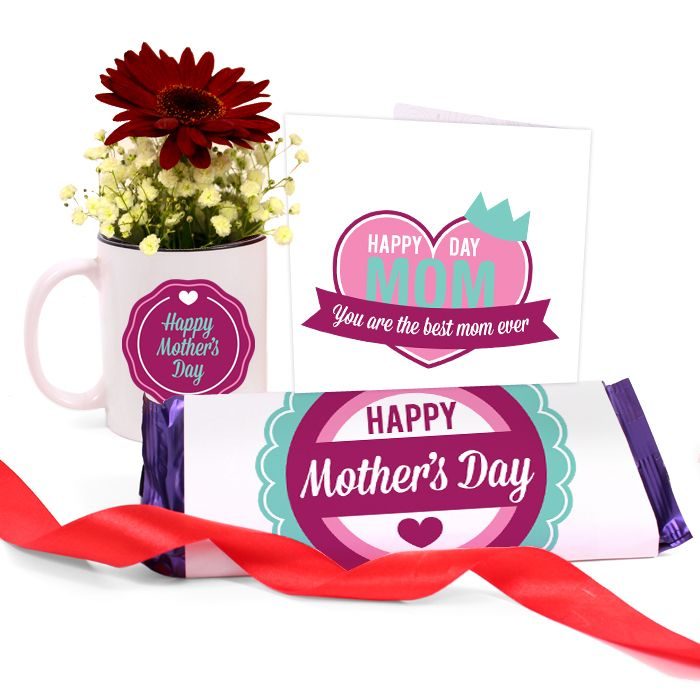 Happy Mom Day Mug with Chocolate & Card