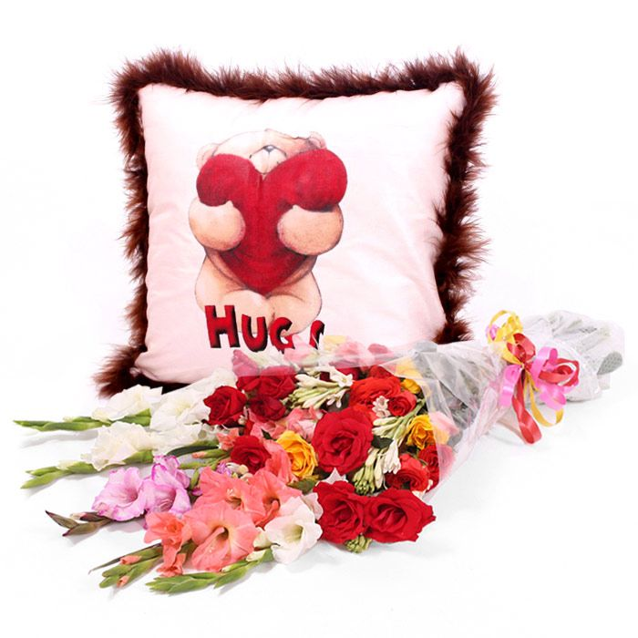 Bear Hug Cushion With Bouquet