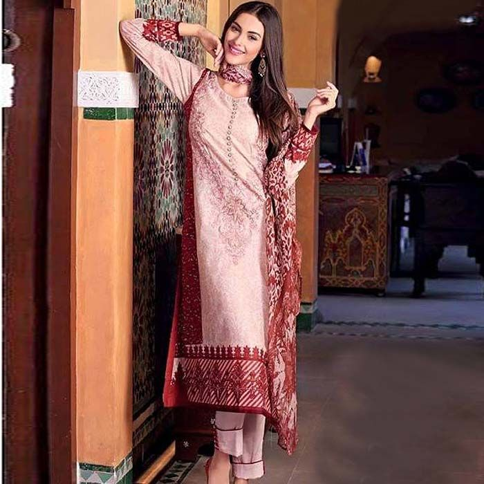 Pink & Brown Lawn Embroidery Suit