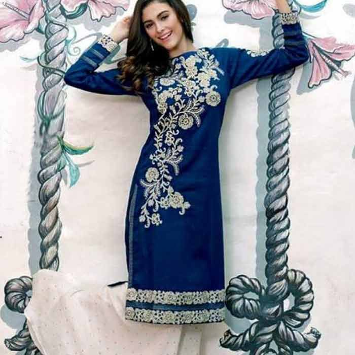 Blue & Golden Embroidery Suit