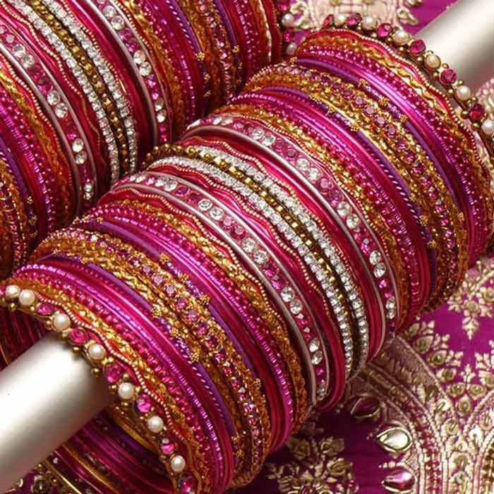 Golden Kangan with Pink Choori