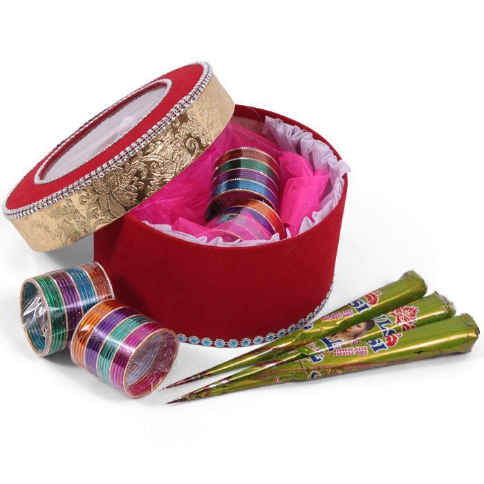 Chooriyan In A Box With Mehndi Cones