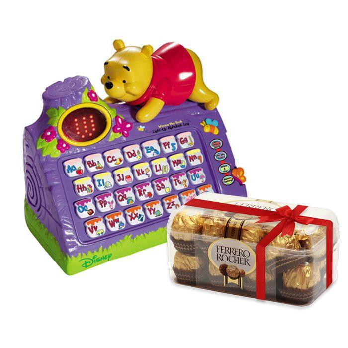 Light-Up Alphabet Log With Ferrero Rocher Box
