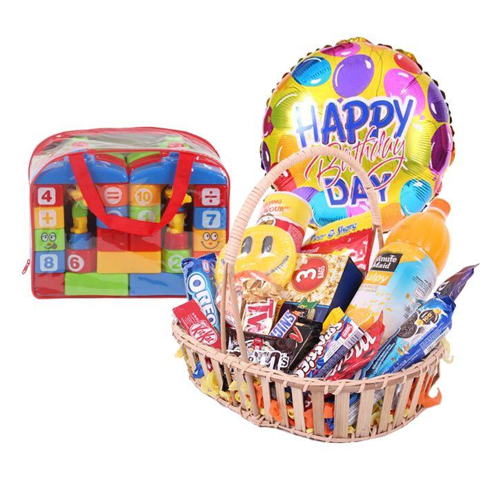 Gourmet Basket With Happy Birthday Balloon &
