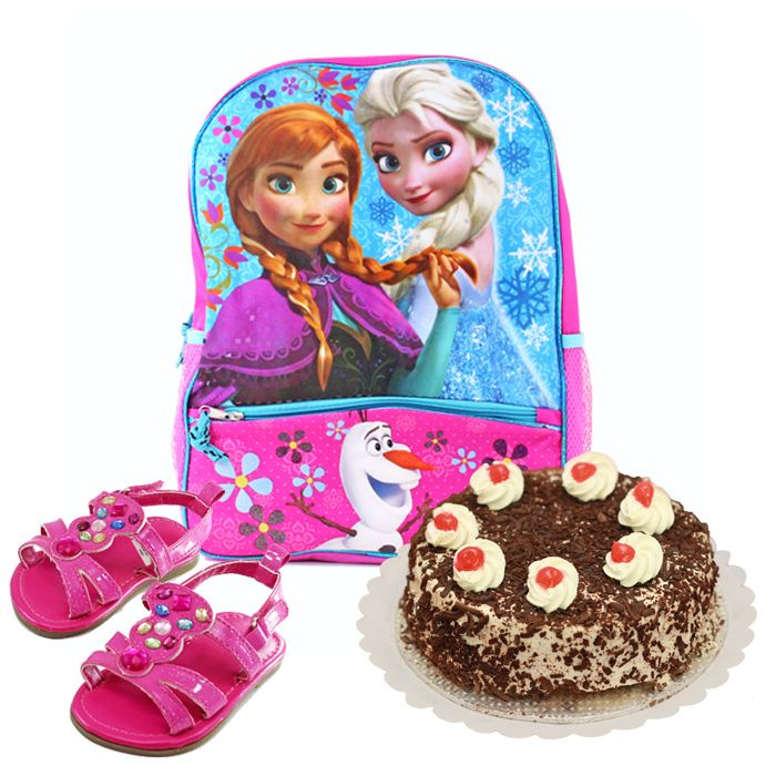 School Bag With Black Forest Cake & Sandals F