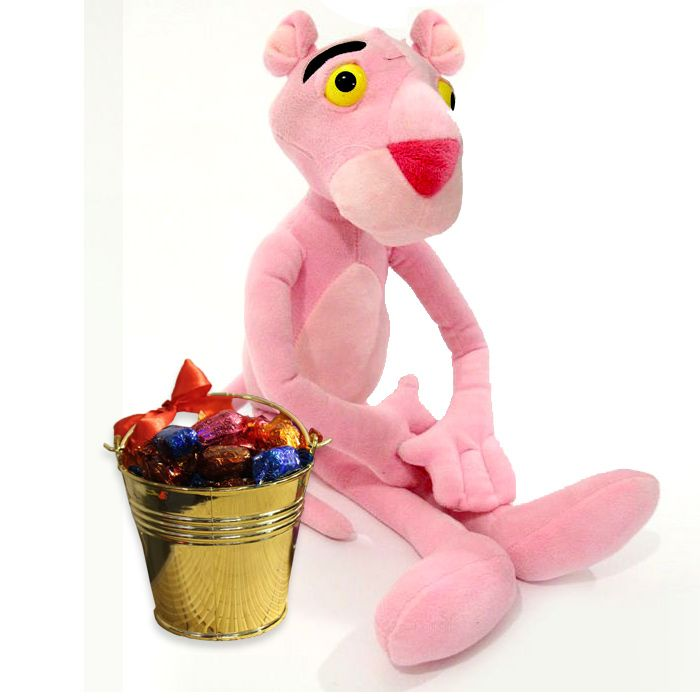 Pink Panther With Quality Street In a Bucket