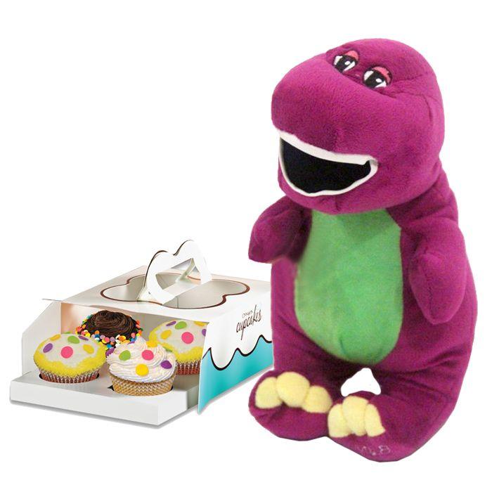 Barney Dinosaur With Cinnabon Cupcakes
