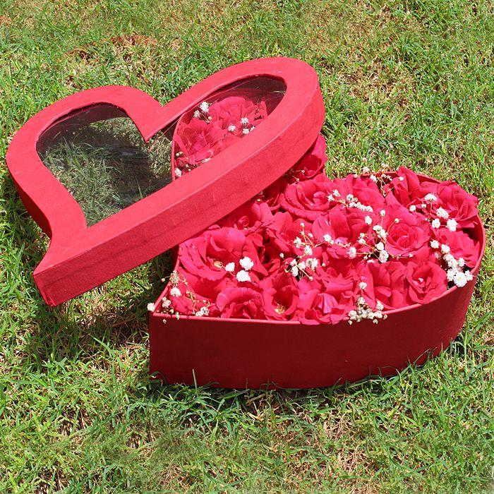 Red Heart Box with Red Roses Arrangement