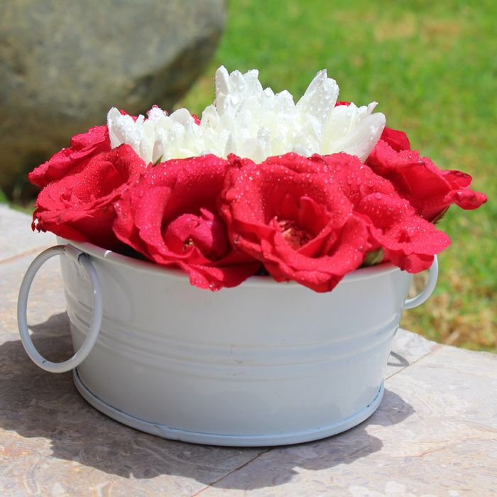 My Heart To Yours Roses with Daisies In A Tub