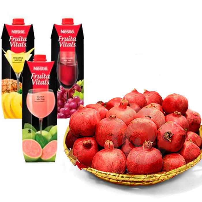 Fresh Juices with Pomegranate Basket