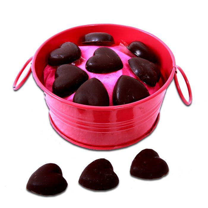 Chocolate Hearts in a Tub
