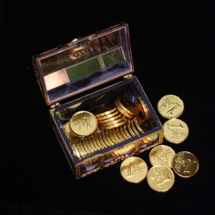 Chocolate Coins in a Treasure Box