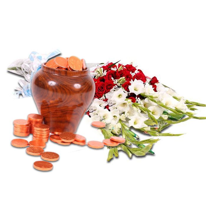 Chocolate Coins Pot with Medium Bouquet