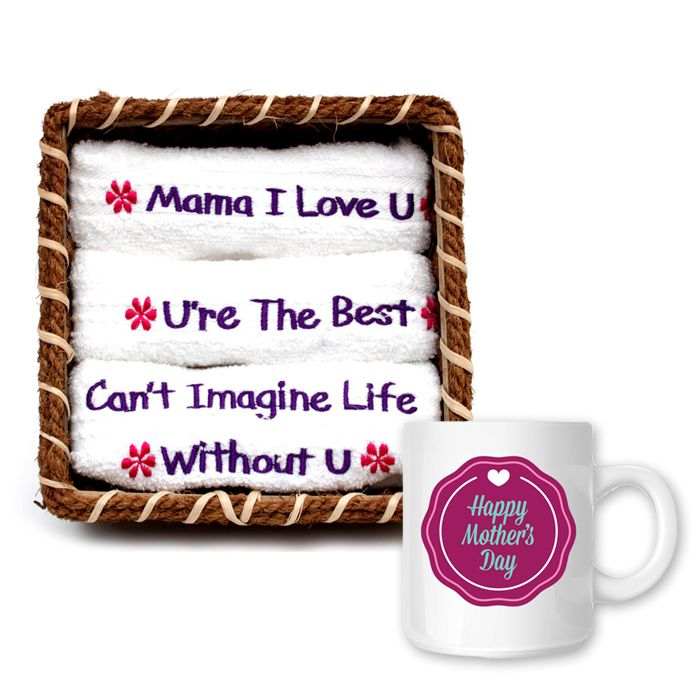 Mama Love Towel Set Basket with Mug