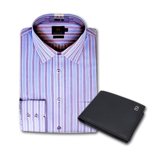 Formal Striped Shirt with Jafarjees Wallet