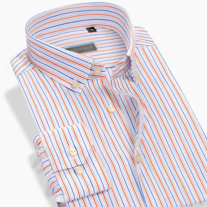 Formal Peach and Blue Striped Shirt