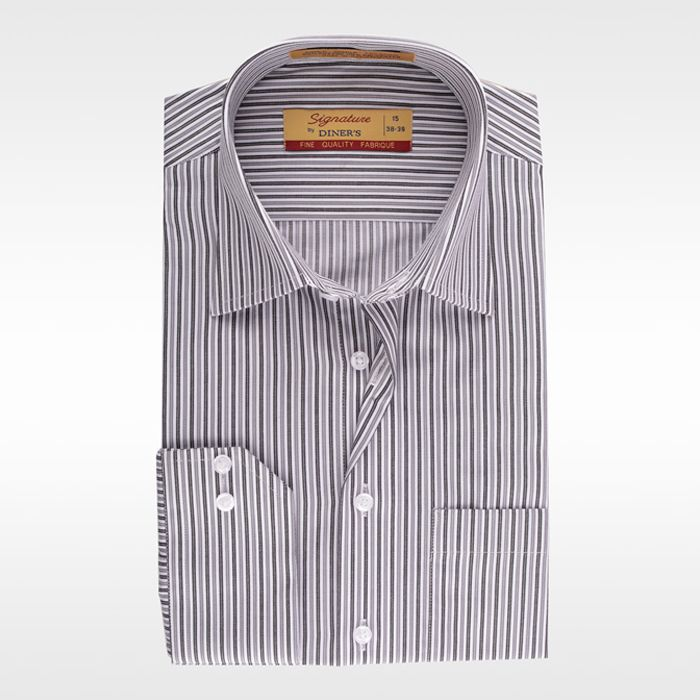 Formal Grey Striped Shirt