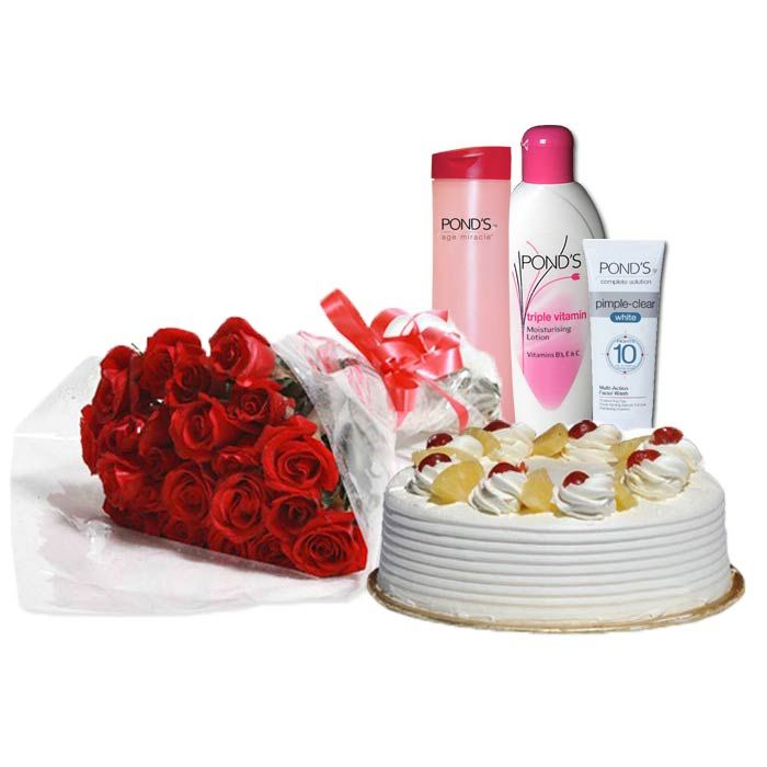 Cake & Flowers With Ponds Care Box