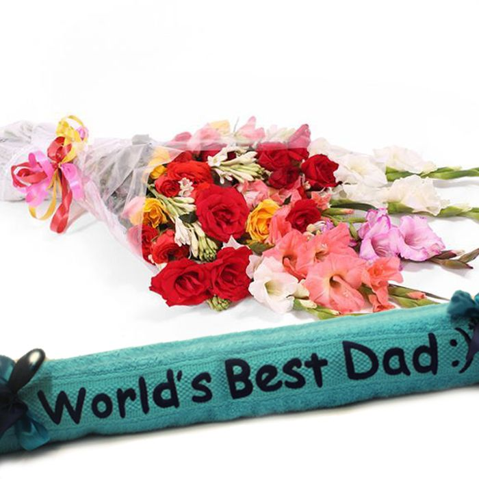Worlds Best Dad Towel With Medium Bouquet