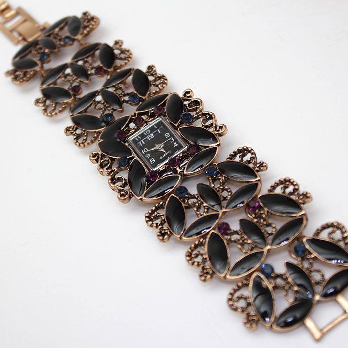 Elegant Black Studded Bracelet Watch