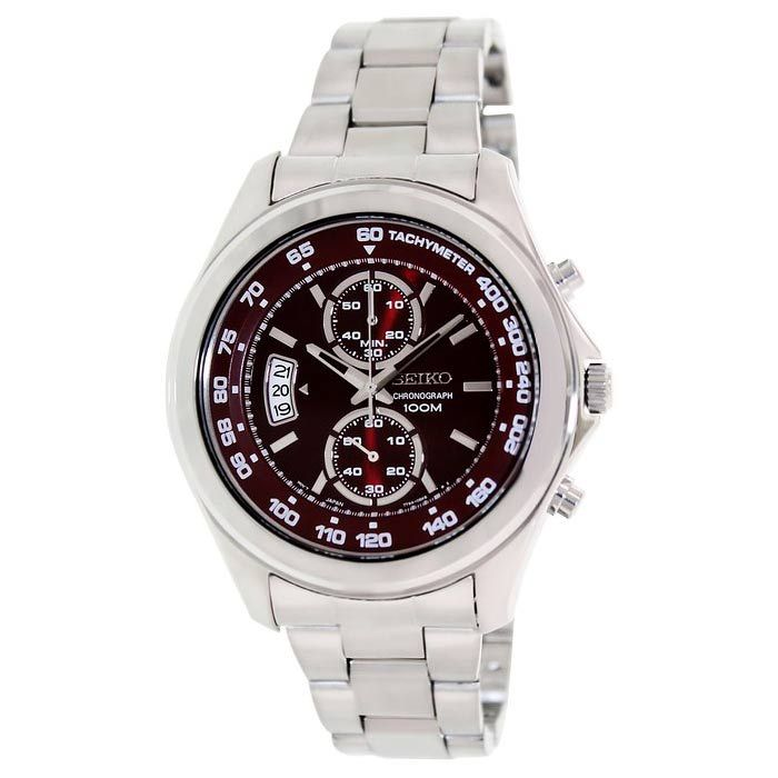 Seiko Red Dial Chronograph Stainless Steel Me