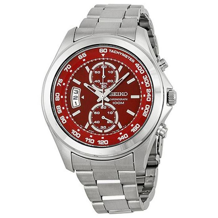 Seiko Red Dial Stainless Steel Womens Watch