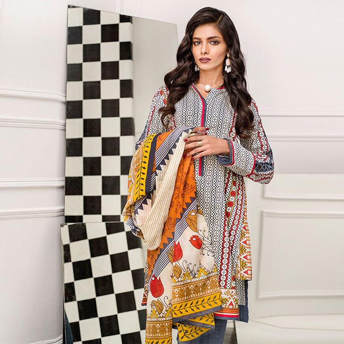 Gul Ahmed Grey Blended Chiffon Cambric Suit